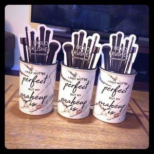 3 glass makeup brush holders!
